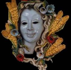 "4-SEASON - SUMMER CERAMIC MASK (WALL DECOR): 14"" (35cm) Diameter.    The ceramic masks made for SABBIA TALENTI are completely hand-made in Florence Italy and the gorgeous fruit surrounding each mask is painstakingly hand-applied."