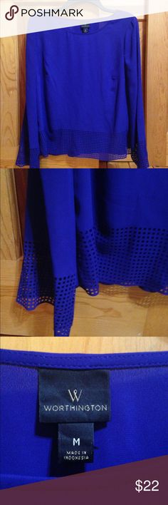 Worthington Deep Blue Long Sleeve! I just love this color. It's such a deep blue and so pretty on all skin tones. Brand New Never Worn. This top is a long sleeve with a breathable bottom to the shirt and the sleeves (see picture) Worthington Tops Blouses