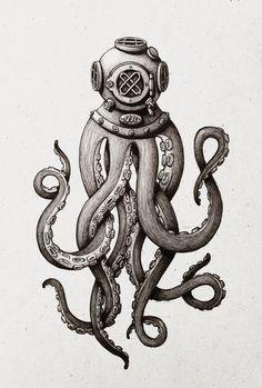 Octopus the Diver Art Print