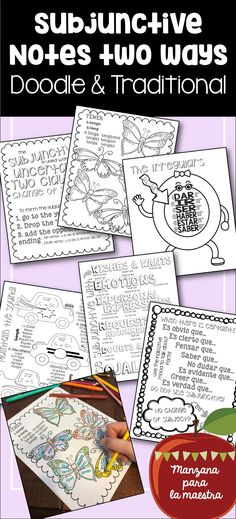 Subjunctive doodle notes for Spanish, also includes bonus traditional notes to please all your learners. Present tense only. Uses WEIRDO. Spanish Teaching Resources, Spanish Language Learning, Spanish Lessons, Learn Spanish, Language Arts, Spanish Verb Ser, Subjunctive Spanish, Spanish Grammar, English Grammar