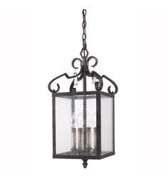 Golden Lighting Valencia 4 Light Pendant in Fired Bronze with Seeded Glass 2049-4P-FB #lightingnewyork #lny #lighting