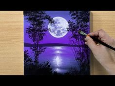 Canvas Painting Designs, Canvas Painting Quotes, Small Canvas Paintings, Easy Landscape Paintings, Canvas Painting Tutorials, Moon Painting, Simple Acrylic Paintings, Diy Canvas Art, Acrylic Painting Canvas