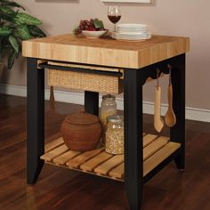 Powell Color Story Black Butcher Block Kitchen Island is a square kitchen island with butcher block top and black base. Find it at Comfort House. Kitchen Island With Butcher Block Top, Black Kitchen Island, Kitchen Island Table, Kitchen Tops, New Kitchen, Kitchen Islands, Kitchen Carts, Kitchen Storage, Storage Baskets