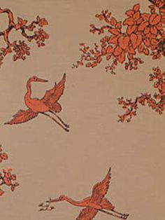 The Cranes from Florence Broadhurst via Signature Prints #fabric #cotton #orange