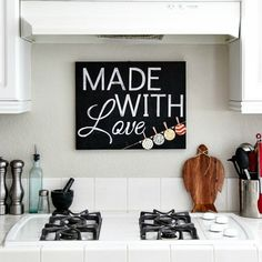 Easy to make chalkboard kitchen sign with tips for making and using paper stencils.