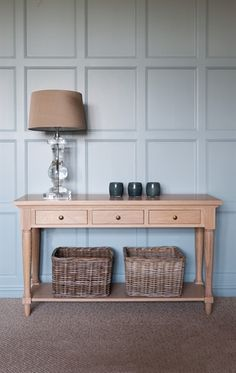 A beautiful console carved out of strong, handsome oak provides flexible storage and neat, polised surfaces for your accessories. Traditional Console Tables, Victorian Living Room, Kb Homes, Living Room Inspiration, Storage Spaces, Small Storage, Storage Baskets, Entryway Tables, Hall Tables