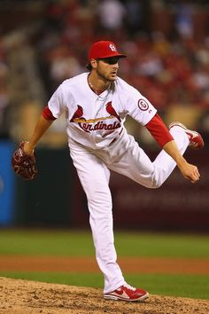 Reliever Kevin Siegrist pitches against the Los Angeles Dodgers...Cards lost 3-2. 8-05-13