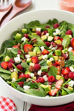 Strawberry Raspberry Cranberry Avocado Spinach Salad with Strawberry Poppy Seed Dressing by @cookingclassy