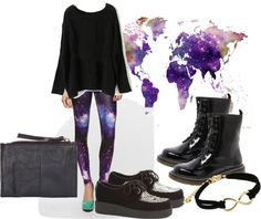 """""""Galaxy Leggings"""" by cherokee-b ❤ liked on Polyvore"""