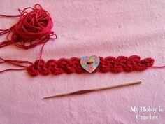 My Hobby Is Crochet: Crochet bracelet with heart button