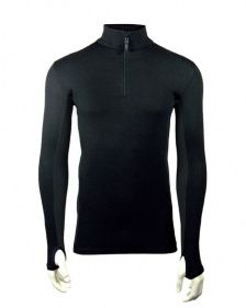 7801a80fa0c1 Men's Zip Neck Baselayer - Black : Bamboo Clothing Round The World Trip,  Travel Packing