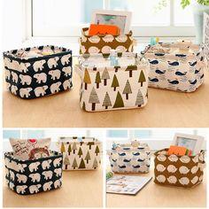New Cartoon Linen Desk Storage Box Home Cotton Organizer Case Jewelry Cosmetic Stationery Sundries Cute Animal Tree Decor #83235