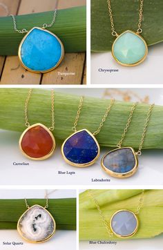 These necklaces are gorgeous - I love the Blue Lapis, Carnelian or Turquoise the best - $52 @ Etsy.com