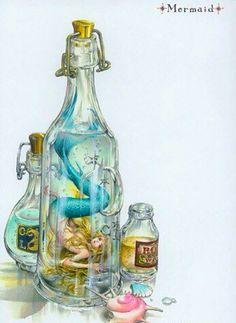 Mermaid inside a bottle art