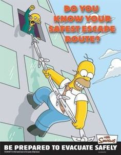 Simpsons Health and Safety Posters Health And Safety Poster, Safety Posters, Fire Safety Poster, Safety Quotes, Office Safety, Workplace Safety, The Simpsons, Simpsons Funny, Safety Fail