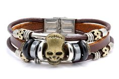 hand made bead PU leather bracelet triple band skull design