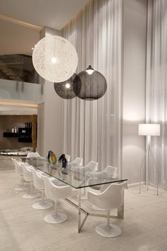 | DINING |  Photo Credit: Unknown (please forward so I can include appropriate credit)  Sandhurst Towers by SAOTA and OKHA Interiors, love the cantilevered staircase design #interiors #diningroom #interiordesign