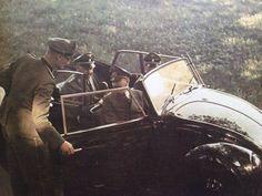 """ ""Adolf Hitler on a Volkswgen with Heinrich Himmler. "" """