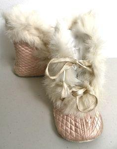 quilted, silk satin baby boots w/rabbit fur trim ... ca. 1910-20s