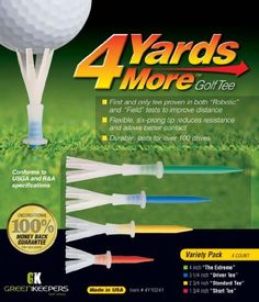 """4 Yards More Golf Tee (Variety Pack) by ProActive. $6.97. 4 Yards More golf tee is a reusable golf tee that will add more yards to your drivign distance. The dynamic elastomer crown allows less friction and low ball spin resulting in longer, straighter drives. The height gauge allows for consistent tee depth with a rigid polymer stake. Variety Pack comes with 1 of ea: 4""""; 3 1/4""""; 2 3/4""""; 1 3/4"""""""