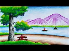 Beautiful Scenery Drawing with Oil Pastels-Landscape Scenery Drawing Step by Step Space Drawings, Bff Drawings, Oil Pastel Drawings, Beautiful Scenery Drawing, Easy Scenery Drawing, Oil Pastel Colours, Oil Pastels, Oil Pastel Landscape, Bts Wallpaper Desktop