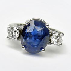 GIA Certificate 11.00CT Natural Untreated Blue Sapphire Diamond Ring 18K Gold