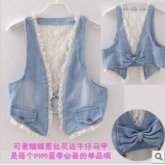 gingham and denim and lace / what a great idea! Jean Crafts, Denim Crafts, Diy Jeans, Denim And Lace, Sewing Aprons, Sewing Clothes, Jeans Recycling, Cut Shirt Designs, Denim Vests
