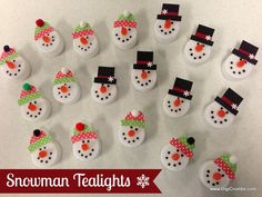 DigiCrumbs: Snowman Tealights - Makes a Cute Ornament, Magnet, Pin, or Package Topper!
