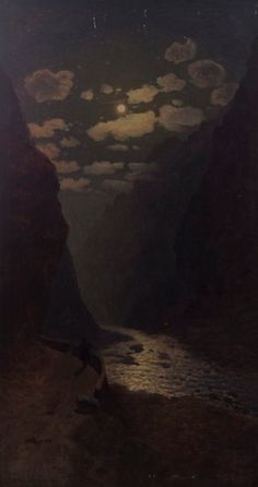 """Daryali Canyon"" by Gevorg Bashinjaghian, 1909 Night Painting, Classic Art, Art Painting, Landscape Paintings, Art Photography, Photo Art, Moonlight Painting, Night Art, Scenery"