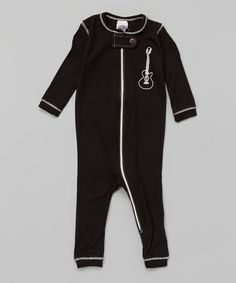 Another great find on #zulily! Black Organic Guitar Playsuit - Infant by Small Plum #zulilyfinds