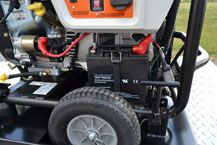 The generator features an electric start with an external battery charge jack for added convenience. http://www.gastrailer.com/equipment/generator-110-pro/ #generator110pro #gastrailer