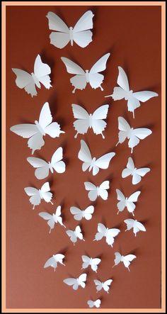 3D Mariposas de pared - 50 Mariposa blanca Siluetas, Nursery, Decoración del hogar, de la boda