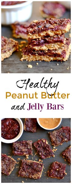 These super simple PB & J bars have a moist peanut butter oat bottom with a homemade chia berry jam and peanut butter swirl on top. Refined sugar free and gluten free. Perfect for snacks, a lunchbox, (Homemade Butter For Kids) Healthy Treats, Healthy Desserts, Delicious Desserts, Yummy Food, Breakfast Recipes, Snack Recipes, Dessert Recipes, Cooking Recipes, Cookbook Recipes