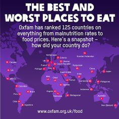 We've been busy creating the Good Enough to Eat Index, the first of its kind that compares data from 125 countries on everything from food quality to food prices. The Netherlands comes out on top, while Chad is named as the worst place to eat.  Repin this if you agree that everyone deserves to have enough food to eat.