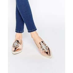 ASOS METAPHOR Embellished Flat Shoes (€52) ❤ liked on Polyvore featuring shoes, flats, rose gold metallic, slippers shoes, metallic flat shoes, pointy toe flat shoes, asos and jeweled flats