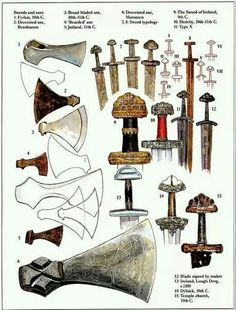 Viking axes and swords