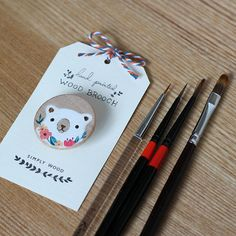 Bear wood brooch. Hand painted brooch. Wooden by SimplyWoodShop, $23.00