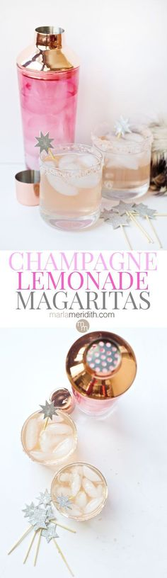 Champagne Lemonade Margaritas recipe festive and delicious! #holiday #christmas #newyearseve MarlaMeridith.com ( /marlameridith/ )