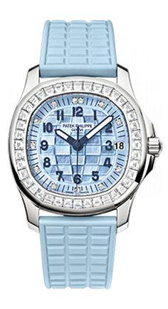 Patek Philippe 5072G-001 White Gold - Ladies Aquanaut - швейцарские женские наручные часы  - белые, золотые, голубые