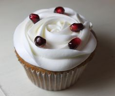 Pomegranate White Chocolate Cupcakes with Pomegranate Cream Cheese Frosting