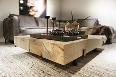 Coffee table made out of oakwood beams Coffe Table, Interior Inspiration, Beams, Kitchen, Nightstands, Furniture, Coffee, Middle, Home Decor