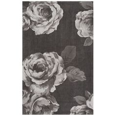 PB Teen The Emily & Meritt Rose Rug, 3x5, Black/White ($99) ❤ liked on Polyvore featuring home, rugs, plush rugs, black and white rug, black white area rug, rose rug and floral rug