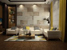 These textural wall tiles embrace the irregular: some are dappled, some are streaked, some are wide, others are thin. The result is a warm and welcoming backdrop that echoes the geometry of the modern furniture, yet could easily be adapted to accommodate any decor.
