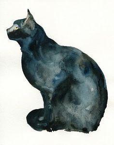 """Képtalálat a következőre: """"black cat art"""" Art And Illustration, Gravure Illustration, Illustrations, Watercolor Cat, Watercolor Animals, Watercolor Paintings, Painting Art, Watercolors, Photo Animaliere"""