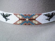Eagle~Owls Eyes Beaded Hat band~Vintage Native American Beaded Design | ajwhatbands - Accessories on ArtFire