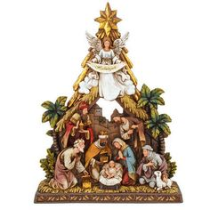 "Celebrate the true meaning of CHRISTmas with this inspirational nativity piece. Artfully crafted of resin, our nativity table display is hand-painted with vibrant glazes and accents of metallic gold and measures 10½"" tall. Depicting three magi bearing gifts to the Christ child as Mary and Joseph prayerfully look on, this attractive display is topped with the star of Bethlehem as well as an angel revealing a <em>Hallelujah</em> banner."