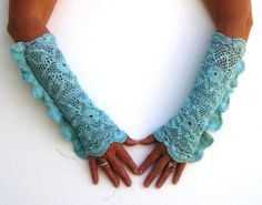 Vintage Hand Dyed Turquoise Crochet Arm by VintageDesignByVines, $15.99