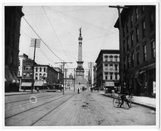 The Indiana Soldiers' and Sailors' Monument as viewed from the intersection of Washington and Meridian Streets. Washington runs west to east in this photo, circa 1890s.  Courtesy of the Indiana State Library.