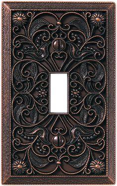 Arabesque Antique Bronze Switch Plate