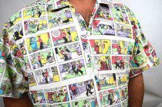 Fun Vintage 80s Comic Strip Button Up Shirt Blondie by RogueRetro